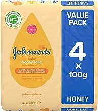 JOHNSON'S Baby Honey Soap 100g 4 pack – Ideal for Babies' Delicate Skin