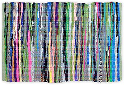 DII 100% Cotton Reversible Chindi Rag Rug for Kitchen, Livingroom, Entry Way, Laundry Room, and Bedroom 20 x 31.5-Inches, Multi Colored