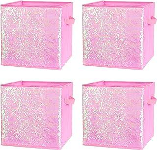 ELUCHANG Foldable Sequin Storage Basket Bin Closet Organizer Cubes Boxes for Nursery Home Drawer Organizer Clothes(4PCS,Mu...