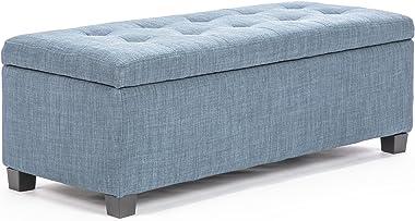 La Bella Storage Ottoman Fabric - Light Grey
