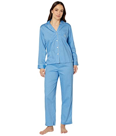 LAUREN Ralph Lauren Petite Cotton Rayon Sateen Woven Pointed Notch Collar Long Pants Pajama Set (Blue Dot) Women