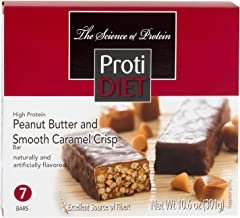 High Protein Bars, Peanut Butter and Smooth Caramel Crisp 10.6oz (7 Count) Muscle Mass, Strength & Energy Support, Gluten-Free, Low Carb Protein Snack