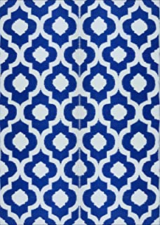 BalajeesUSA 5'x7' Indoor Outdoor Plastic Straw Patio Rugs Camping Reversible Wholesale Price Mats Dark Nv Blue 4477