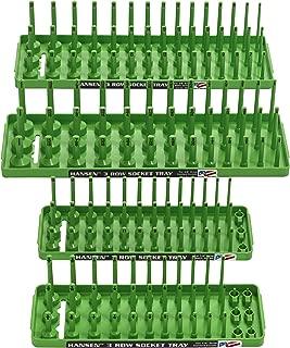 Hansen Global 92004 SAE & Metric, 3-Row Socket Tray Set - 4-Pieces, Green