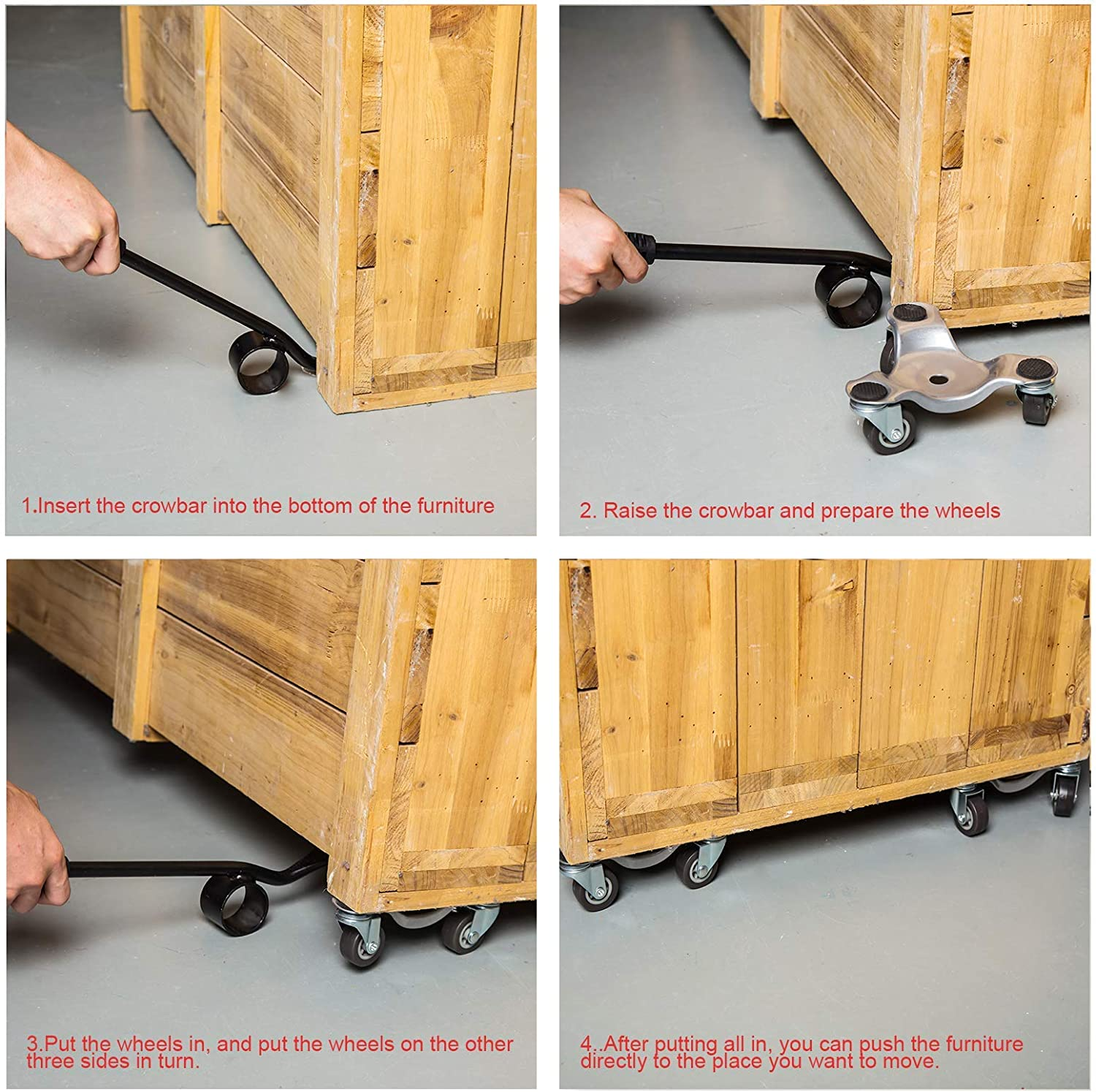 Furniture Dolly with Casters Triangle Iron Mover Heavy Moving Tool with Universal Wheel Portable Mover with Crowbar Three Wheel Mover Dolly for Furniture Heavy Objects 4 Packs with 1 Crowba Red