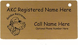 C3249 Golden Retriever with Duck Crate Tag Personalized with Your Dog's Name