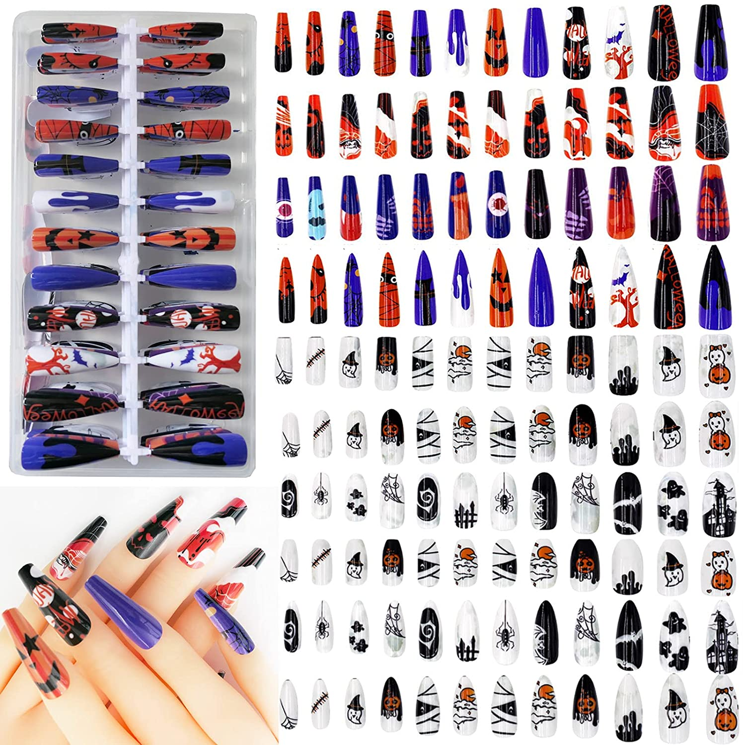 240pc Halloween False Nails 2021 autumn and winter new Press Coffin ons Squa Almond Ranking TOP11 Painted