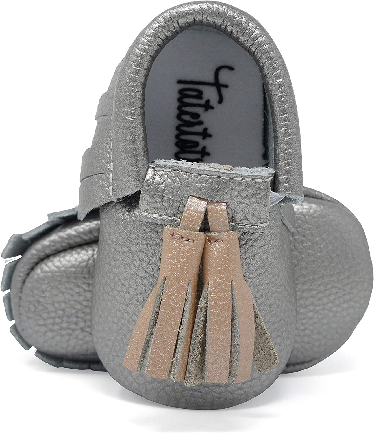 Tatertots Baby and Toddler Moccasin Shoes, Genuine Leather Soft Sole - 3-6 and 6-12 Months