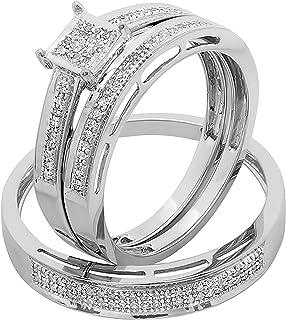 Dazzlingrock Collection 0.18 Carat (ctw) Round White Diamond Men's and Women's Engagement Ring Trio Bridal Set, White Gold