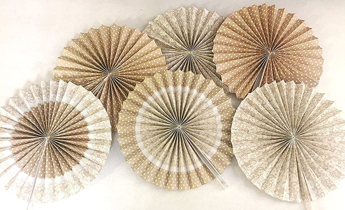 Burlap and Lace Printed Paper Fans, 14