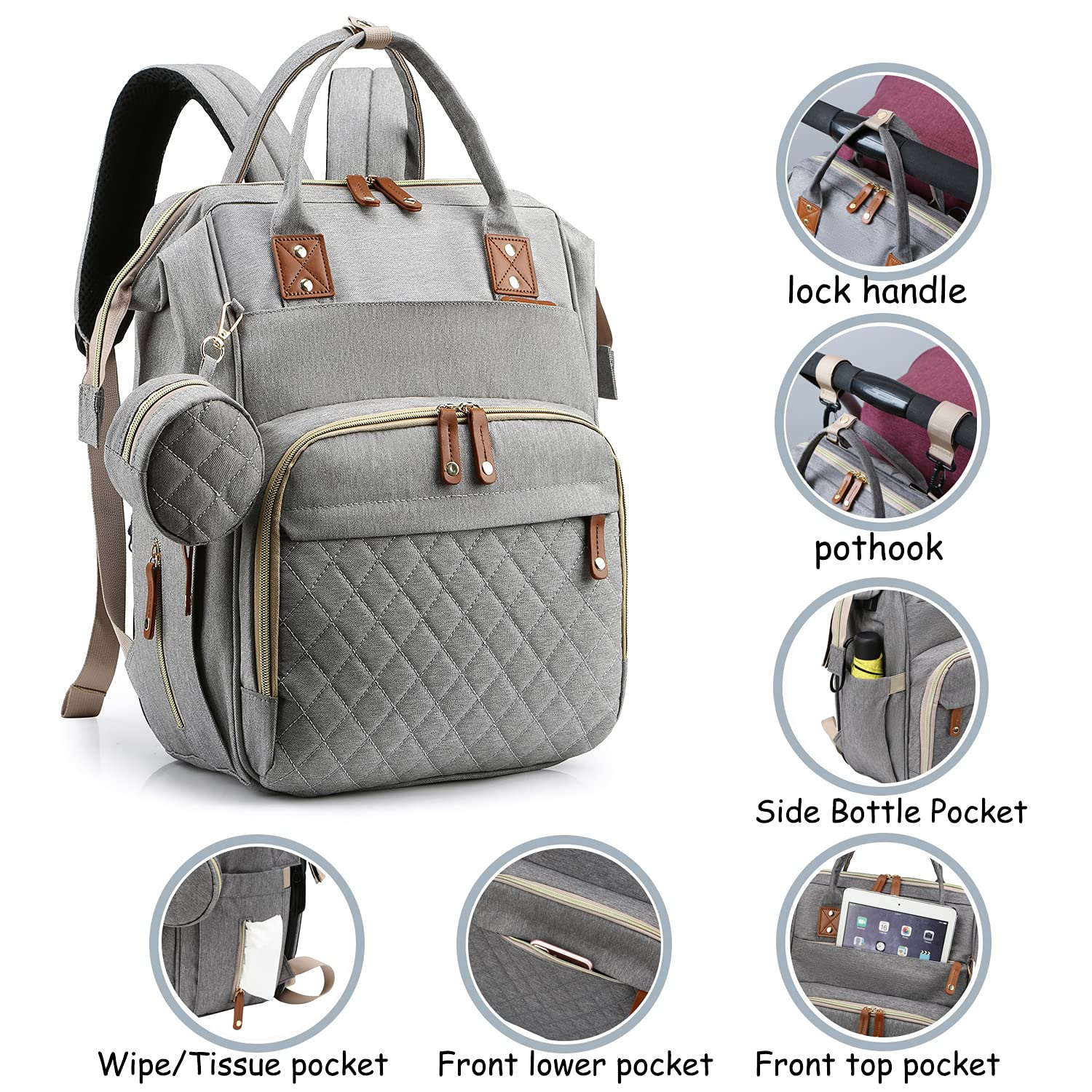 Diaper Bag Backpack,Multifunction Travel Backpack,Maternity Baby Changing Bags, Large Capacity, Waterproof and Stylish, Grey
