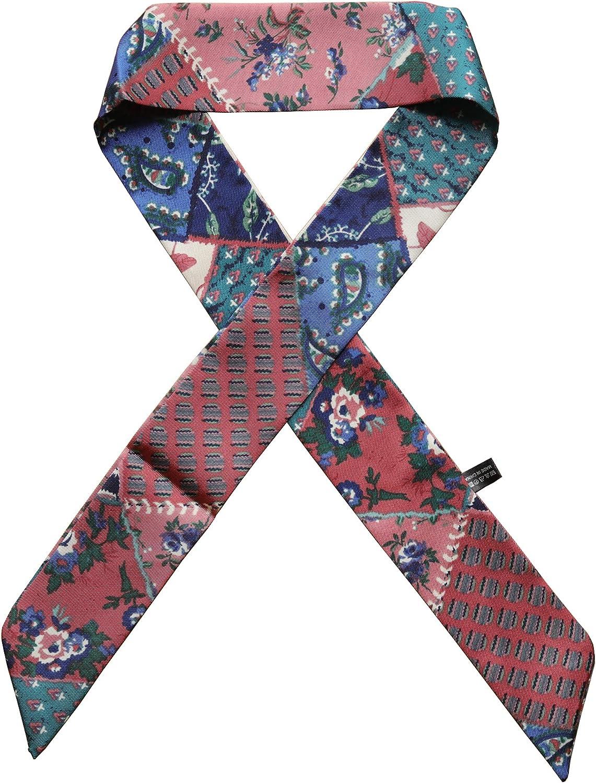 Ruu Deco Satin Skinny Silklike Vintage Multicolor Neck Scarf Headband For Women Handbags