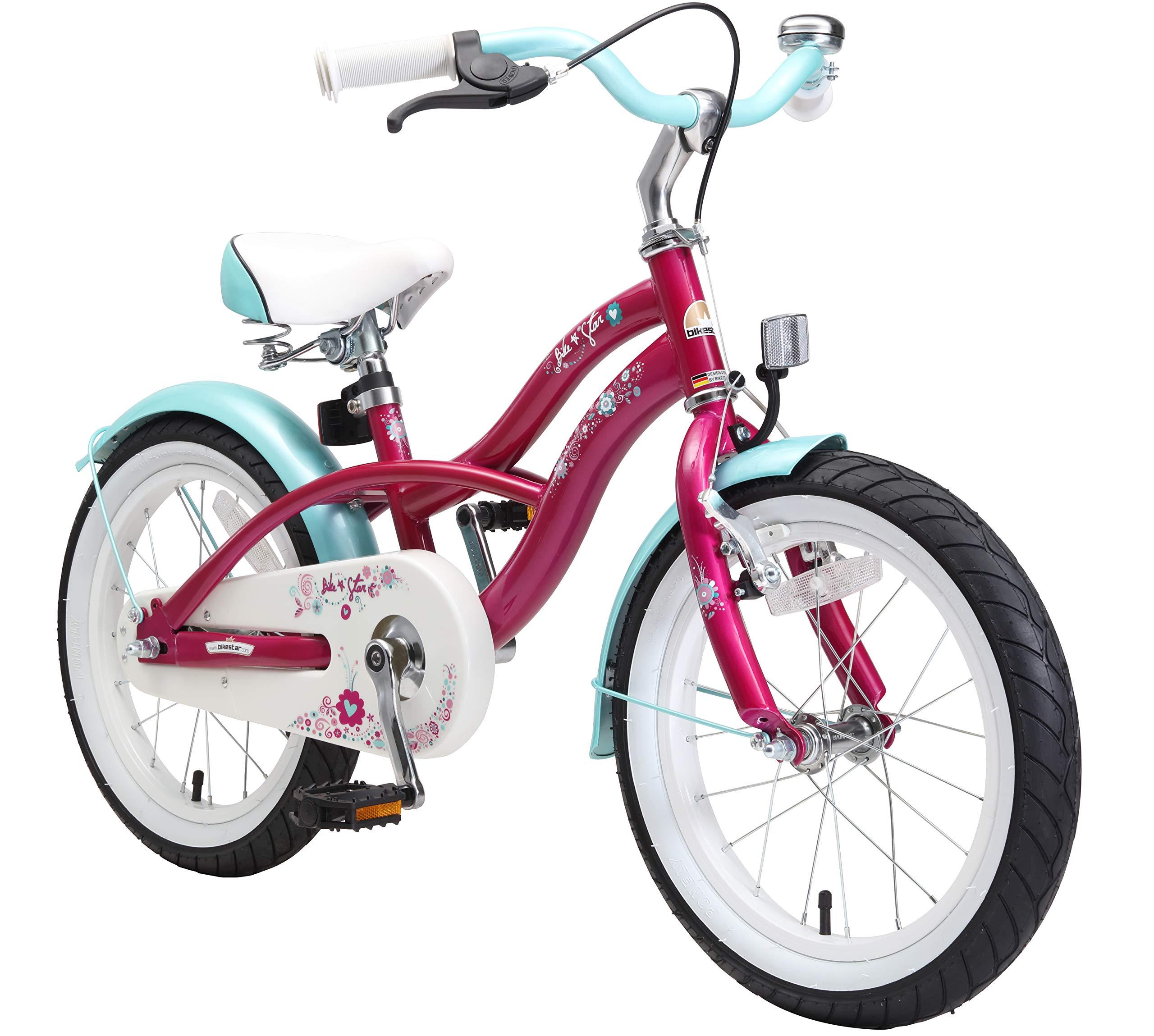 Bikestar   Bicicleta para niños y niñas 16 Pulgadas   Color Rosa   A Partir de 4 años   16