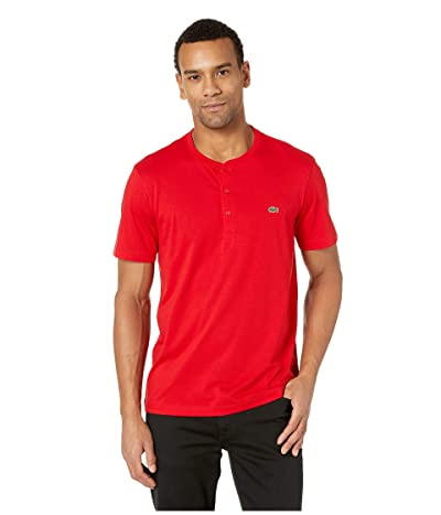 Lacoste Short Sleeve Regular Fit Pima Henley (Red) Men