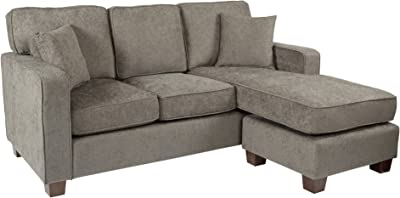 OSP Home Furnishings Russell Reversible Sectional Sofa with 2 Pillows and Coffee Finished Legs, Taupe Fabric