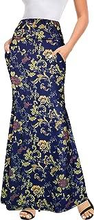 Afibi Women's Fold Over High Waisted Floor Length Maxi Flare Skirt with Pockets