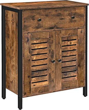 HOOBRO Cupboard, Storage Cabinet with Drawers and Height-Adjustable Shelves, Sideboard, Floor Cabinet, Double Unique Louver D