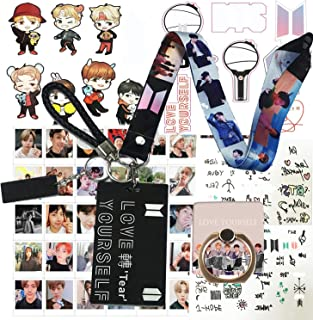 Gifts Set for Fans - 40Pcs Lomo Cards, 1 ID Card Badge Holder, 1 Lanyard, 1 Phone Finger Ring Stand, 1 Keychain, 1 Wrist S...