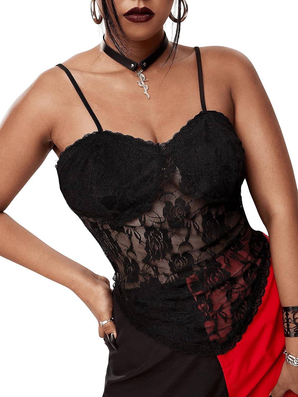 SheIn Women's Plus Asymmetrical Hem Crop Cami Top Sleeveless Floral Lace Camisole