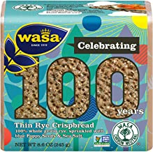 WASA Thin Rye Swedish Crispbread, 8.6 oz, Non-GMO Project Verified Rye Crackers, No Saturated Fat (0.5g Total Fat), 0g of ...