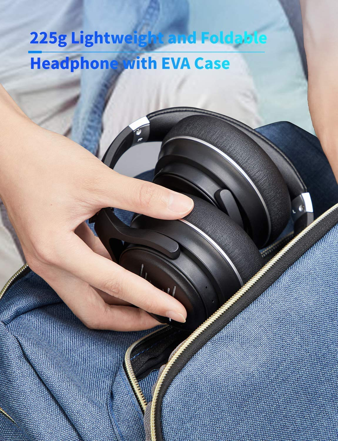 Tribit XFree Go Bluetooth Wireless Headphones Over Ear,Bluetooth 5.0 On Ear Headphone with CVC 8.0 Noise Cancelling Mic,HiFi Sound,Deep Bass,USB Lightening Fast Charge,24H Playtime,Voice Control