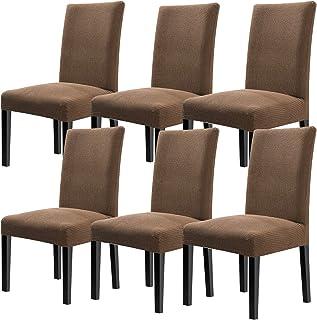 YISUN 4er/6er Set Stretch Kurze Esszimmer Stuhlhussen, Abnehmbare Waschbar Stuhlbezug Stuhl Schutzhülle für Wohnkultur Party Hotel Hochzeitszeremonie (6-Stück, Hellgrüner Kaffee)
