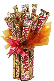 Twix Candy Bouquet with King Size, Standard and Fun Size. Includes Personalized Gift Card. Sweet Chocolate Gifts for Birthdays, Retirement, Anniversary or Any Special Occasion