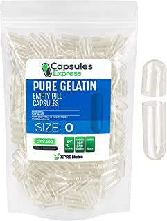 Sponsored Ad - Capsules Express- Size 0 Clear Empty Gelatin Capsules 100 Count - Kosher and Halal - Pure Gelatin Pill Caps...