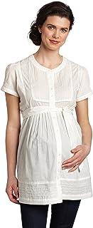 Ripe Maternity Women's Maternity Pintucked Short Sleeve Overshirt