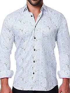Maceoo Mens Designer Dress Shirt - Stylish & Trendy - Fibonacci Genius White - Tailored Fit