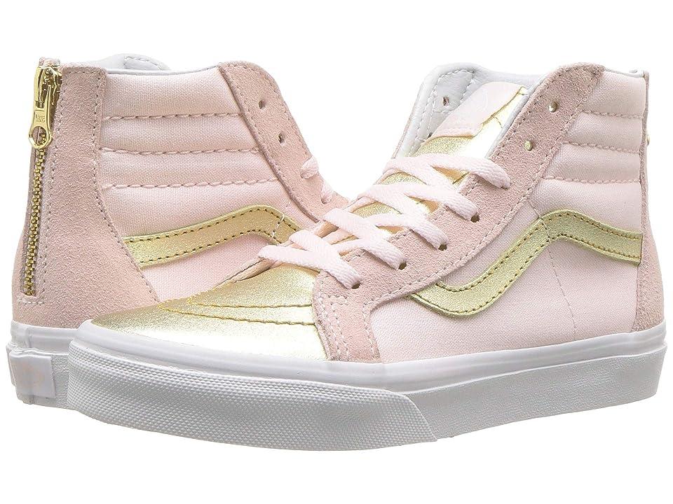 Vans Kids Sk8-Hi Zip (Little Kid/Big Kid) ((Metallic Toe) Heavenly Pink/Gold) Girls Shoes