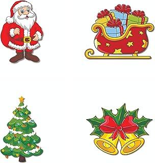 Bhai Please Santa Claus, Sleigh, Christmas Bells and Christmas Tree Wooden Fridge Magnet (Pack of 4 pcs, one pc Each Desig...