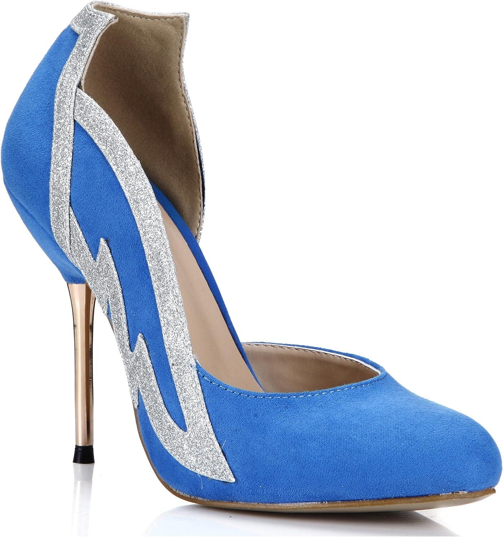 Dolphin Women's Fashion bluee Flax Dress Pumps Casual Cocktail Wedding Evening Stiletto SM00024