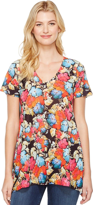Nally & Millie Womens Floral Print VNeck Tunic