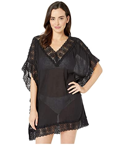 La Blanca Island Fare Short Sleeve Tunic Cover-Up (Black) Women