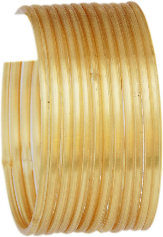JD'Z COLLECTION Ethnic Fashion Jewelry Daily Wear Indian Designer Glass Plain Bangle Set For Girls & Women Churi Bracelet Traditional Bollywood Bangles Set Of 12 (Gold 2.8)