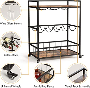 Industree 3-Tier Bar Cart with Wine Rack, Elegant Rustic Mobile Kitchen Cart with Storage, Microwave Cart, Coffee Cart, Wine