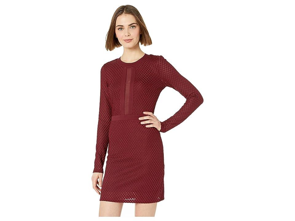 Bebe Mesh Inset Blocked Mini Dress (Wine) Women