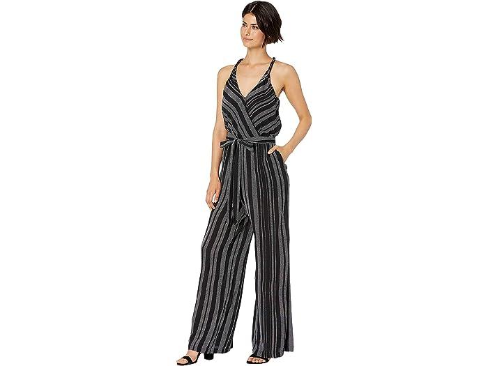 1.state Halter Neck Tie Waist Checker Grid Jumpsuit Rich Black Jumpsuits & Rompers