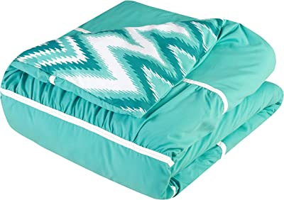 Chic Home CS2579-AN 4 Piece Bella Pleated & Ruffled with Chevron Reversible Backing Comforter Set Shams and Decorative Pillows Included, King, Turquoise