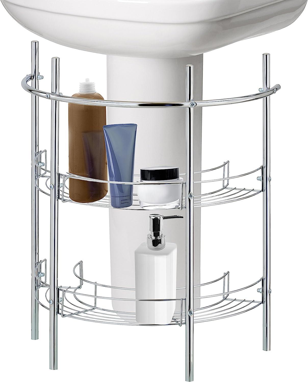 Amazon Com Under The Sink Bathroom Quality Pedestal Storage Rack With 2 Shelves Hand Towel Bar Chrome Plated Home Kitchen