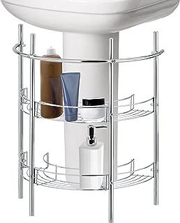 MyGift Under-The-Sink Bathroom Quality Pedestal Storage Rack with 2 Shelves & Hand Towel Bar, Chrome Plated