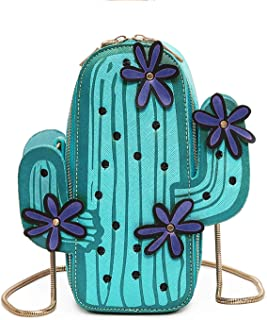 SUKUTU Refreshing Womens Cactus PU Leather Crossbody Shoulder Handbags Purses, Mini Cactus Embroidery Satchel Purse