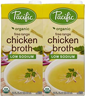 Pacific Natural Foods Organic Chicken Broth, Low Sodium, 32 oz, 2 pk