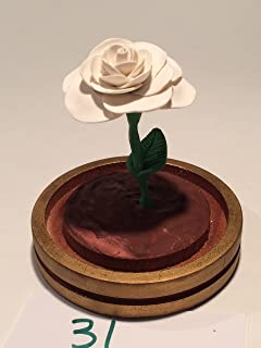 Beauty and the Beast shimmering white Rose in a glass dome with a gold base, Handcrafted, Enchanted Rose, Holiday Sale