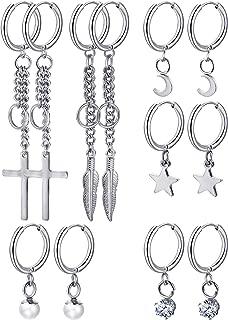 6 Pairs Huggie Hoop Earrings Stainless Steel Dangle Hinged Hoop Cuff Earrings Men Women Huggie Jewelry Set, 6 Types