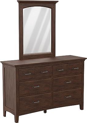 OSP Home Furnishings Modern Mission Vintage Oak Dresser with Mirror