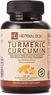 Turmeric Curcumin Natural Herbal Supplement Anti Inflammatory Joint Pain Relief Ayurvedic 90 Vegetarian Capsule 900 mg with 95 Percent Curcuminoids