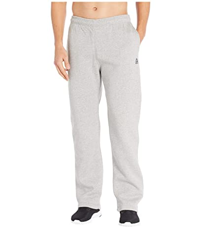 Reebok Training Essentials Fleece Open Hem Pants (Medium Grey Heather) Men