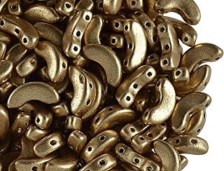 25pcs Arcospar Puca Beads, Light Gold Mat
